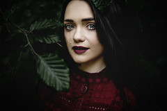 Strength. (AmyFaithPhoto) Tags: conceptual fine art portrait portraiture girl darkhair moody dreamy painterly brunette red dress leaves forest sadness melancholy depression mental health awareness tears crying morose proud strength amyfaithphotography photography
