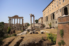 Temple of Saturn has eight majestic columns (B℮n) Tags: foro romano palatino archaeological area rome roma italië italia italy roman romeinen battle forum plaza remarkable decorated architecture 23meters summer holiday travel middle ages market boog heatwave ancient monuments history restored excavations victory structure tourist centre ruins opening entry museum lapisniger tempiodisaturno templeofsaturn juliusceasar ceasar julius basilicajulia 497bc capitoline hill templeofvespasianandtitus lazio 50faves topf50