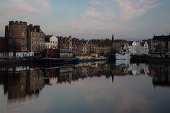 Leith Shore Sunset and Harbour April 2018  (112 of 161) (Philip Gillespie) Tags: sunset sky clouds leith shore harbour water sea river wet reflections buildings architecture mono monochrome black white colour color yellow red orange green purple pink blue urban city town canon 5dsr people men women man woman kids boys girls feet legs heads hands outdoor bridge profile long exposure spider chains birds swan bench scotland edinburgh boats dock night evening lights stars street road hour