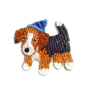Birthday Beagle Bead Embroidery Brooch or Pin