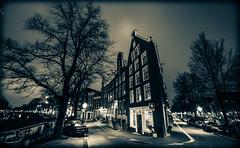 Amsterdam Prinsengracht Bloemgracht (Michael Shoop) Tags: michaelshoop amsterdam thenetherlands netherlands holland noordholland canon canon7dmarkii bw blackandwhite night architecture prinsengracht bloemgracht canalhouses
