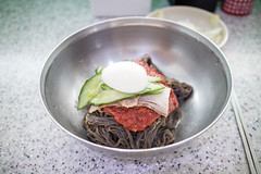 Korean Super Spicy Noodles. (Kim Jin Ho) Tags: jamsil seoul korea famous place tourist travel destination egg spicy pork cold kimchi cucumber