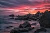 Fire in the Sky 🔥 (Roving Vagabond aka Bryan) Tags: sunset socal california coronadelmar newportbeach rock water ocean sea seaside seascape landscape sky oc orangecounty explore dusk pelicans longexposure