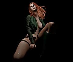 the beat goes on (khaosrepublic) Tags: curvy seductive maitreya ginger laq redhair army underwear boots piercing valekoer legs garter chair darkness bentohead bomberjacket