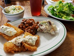 fish for lunch (jeffreyw) Tags: friedfish filets breading bakedbeans salad potatosalad dinner tartarsauce slaw sweettea
