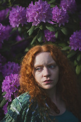 Rose tree (I), 2018. (Maike Born) Tags: rose tree rhododendron portrait girl ginger red hair flower spring blue eyes person people conceptual human being fashion maike born