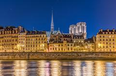 L'ile de la Cité à l'heure bleue (aurlien.leroch) Tags: france paris cathédrale notredame night cityscape nikon bluehour heurebleue îledelacité architecture