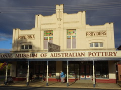 Holbrook NSW. The old Art Deco style Riverina Producers store is now the National Museum of Australian Pottery. (denisbin) Tags: holbrook germanton generalstore billytea museum riverinaproducers woolpackinn hotel submarine otway advertising museumofaustralianpottery potterymuseum pottery australianpottery