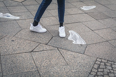 white shoes.. (ckollias) Tags: bodypart city day footpath highangleview humanbodypart humanfoot humanleg humanlimb jeans leisureactivity lifestyles lowsection oneperson outdoors pavingstone realpeople shoe shoes shoesoftheday standing stone street tiledfloor walking