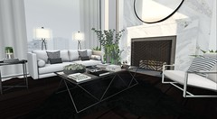 Client Work - La Vista Heights (brinks_lemmon) Tags: living sofa couch chesterfield chair rug hide table glass book plant plants flower flowers fireplace mirror art lamp light curtain curtains drapes vase