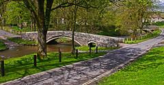 Linton Bridges (wontolla1 (Septuagenarian)) Tags: linton rylstone cracoe north yorkshire dales bridge bridges river village sun shadows trees road ford arches arch old ancient beck packhorse panasonic lumix g3 sigma 19mm dn art lens wednesdaywalk