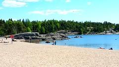 Vuosaari, Helsinki, Finland (sakarip) Tags: sakarip finland vuosaari beach uimaranta may water sea people rock forest trees pines sky clouds helsinki