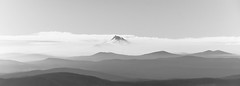 Mount Jefferson, Oregon (maytag97) Tags: maytag97 nikon d750 mount mt jefferson peak oregon cascade mountain range blue sky cloud silhouette tree snow landscape mountainside forest pano panorama bw blackandwhite contrast hills foothills haze