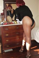 Karen (Karen Maris) Tags: tg tgirl tgurl karen tranny trannie legs heels transvestite transsexual transgender pantyhose tights sandals redhead crossdress crossdresser sheer
