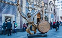 2018 - Mexico City - José Sacal Bronze (Ted's photos - Returns 23 Jun) Tags: 2018 cdmx cityofmexico cropped mexico mexicocity nikon nikond750 nikonfx tedmcgrath tedsphotos tedsphotosmexico vignetting josésacalmicha josésaca sculpture bronzesculpture streetscene street art publicart banjo backpack denim denimjeans people peopleandpaths