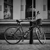 Barber and Bike (stephen cosh) Tags: blackandwhite glasgow hasselblad500cm hasselbladplanar80mm ilfordhp5400 stephencosh streetphotography