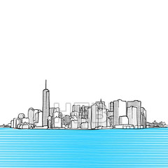 New York City Skyline seen from New Yersey (Hebstreits) Tags: abstract america architecture art background black brooklyn building business city cityscape construction design doodle downtown draw drawing drawn graphic hand illustration landmark landscape line manhattan modern new nyc office outline panorama pencil scape silhouette sketch sky skyline skyscraper state street tourism tower town travel urban usa vector view white york