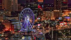 Atlanta, GA: Skyview Atlanta at Centennial Olympic Park (nabobswims) Tags: atlanta centennialolympicpark ferriswheel ga georgia hdr highdynamicrange ilce6000 lightroom nabob nabobswims night nightfoto photomatix sel18105g skyview sonya6000 us unitedstates
