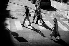 Long Stockholm days and longer shadows (Dan Haug) Tags: streetphotography stockholm sweden scandinavia pedestrians walking crosswalk shadows blackandwhite monochrome xt2 xf56mmf12r fujifilm xf56mm august 2017