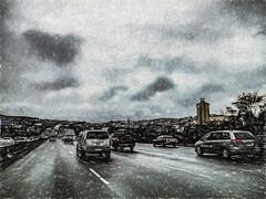 Increasing Traffic (p) (davidseibold) Tags: america cloud drivebyphotography flag hwy101 iphoneography jfflickr painting phoneshot photosbydavid plant postedonflickr postedong sky tree unitedstates usa vehicle sanfrancisco california