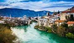 Mostar Bosnien (franciscobarongarcia) Tags: water see bridge tree blue sky mountain old city sony a7 full frame nature landscape casa aqua bosnia beautiful