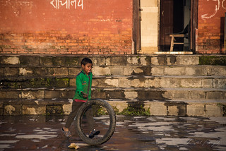 Street kid playing in Pashupatinath Temple