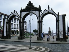Azores...Gateway to Ponta Delgada at the Cruise Ship Terminal. (rossendale2016) Tags: churches shops entry exit structure ornate destination area holiday tourist shopping central centre town city landlocked locked land now entrance harbour old built stone portugal portuguese azores terminal ship cruise port gateway delgada ponta