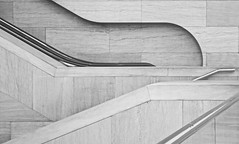 Stairs No 7 (llawsonellis) Tags: architecture modernarchitecture museums stairwells railings concrete line curves lineandcurves monochrome urban abstract urbanabstract patterns textures rhythms diagonals blackandwhite nikon nikond5300 building fragment section crop minimal minimalistic less interior