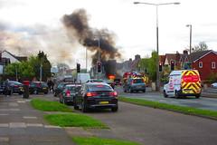 fire! (SociétéRoyale) Tags: halewood village liverpool mackets lane higher road junction fire brigade engine smoke burning police traffic car l26