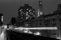 Harlem Shuffle, Manhattan, NY - December 2017 (Matthew Mu Photography) Tags: newyorkcity city building blackwhite film architecture tmax kodak 35mm harlem manhattan eltrains canona1