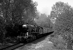 "34027 ""Taw Valley"" - Severn Valley railway (Andrew Edkins) Tags: 34027 tawvalley knowlesandstunnel bridgnorth eardingtonbank railwayphotography blackandwhite monochrome may 2018 spring westcountryclass travel trip uksteam light trees canon geotagged passenger severnvalleyrailway lightpacific"
