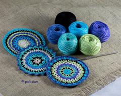 crochet coaster (polelena24) Tags: crochet mandala coaster balls circle doily hook