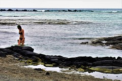 Late in the day (thomasgorman1) Tags: beach lavarock rocks rocky sand woman bikini snorkeling snorkeler hawaii kona kahaluu cove reef shore island nikon