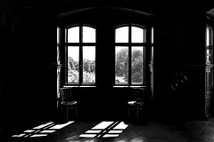 two windows and two chairs (christikren) Tags: blackwhite bw christikren dark fenster light noiretblanc panasonic sw shadow windows castle schlossgrafenegg austria chairs mistery secret may