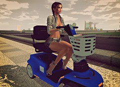 Fast!! (kare Karas) Tags: woman lady femme girl girly sweet cute pretty beauty fun game ride scooter outdoors may spring sunny virtual avatar secondlife event style fashion shirt skirt denim colors hud poses heels kendrasycreations revelation fashiowlposes mosquitosway treschicevent