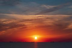Sunset at Houston (Zahidur Rahman (Thanks for the Favs, comments and ) Tags: zahidurrahman houston usa evening sea ocean twilight sunset sun sky skyline water aqua vessel ship city distance lines curves beach coastline