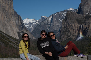 My girls with the magic rainbow at Tunnel View