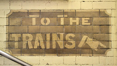 To The Trains (R~P~M) Tags: sign london england uk unitedkingdom greatbritain manicule ghostsign train railway station londonunderground stepneygreen districtline