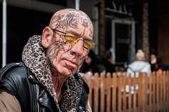 Direct (johnjackson808) Tags: tattoos vancouver portrait granvillest fujifilmxt1 streetportrait streetphotography gaze people eyecontact man downtown