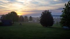 Foggy Morning Sunrise (Angel_Photos) Tags: sun sunrise misty morning clouds landscape scenery nature pennsylvania backyard mountains trees yellow blue green fog foggy sky hill pretty view america natural naturaleze color field grass tree hiking dawn daybreak photography concinnity patulous countryside ngc
