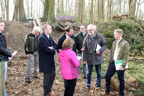 Begutachtung der Sturmschäden im Jeddeloher Busch mit Landesumweltminister Olaf Lies.