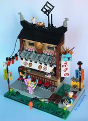 Ramen&Sushi Bar (SpaceBrick) Tags: lego moc creation ninjago city japan ramen sushi bar fishing movie minifig scale construction toy