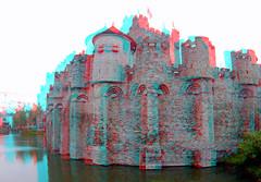 Gravensteen Ghent 3D (wim hoppenbrouwers) Tags: gravensteen ghent 3d anaglyph stereo redcyan gent