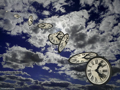 Tempus fugit (ricardocarmonafdez) Tags: cielo sky nubes clouds relojes watches horas hours concept creative edition processing effect composition 60d 1785isusm canon imagination sunlight backlight contraluz