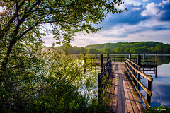 Very Enjoyable Morning. (Igor Danilov Philadelphia) Tags: morning lake water sky air fresh pier trees green dock sun light bright clouds tranquility chosen