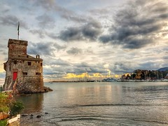 Sunset in Rapallo (alex.gube) Tags: building architecture sea old sunset golden hour cloud cloudy flag ship deck reflections reflection phone