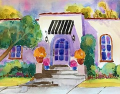 THE LITTLE HOUSE DOWN THE STREET (BonnieBuchananKingry) Tags: watercolor watercolorpainting house home garden awning flowers pots streetscene neighborhood southpasadenaca