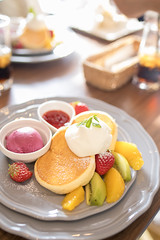 Colorful pancake (Apricot Cafe) Tags: img87218 asia asianandindianethnicities cafe healthylifestyle japan japaneseethnicity tamronsp35mmf18divcusdmodelf012 adolescence candid carefree casualclothing charming cheerful chibaprefecture child childhood colorimage day delicious enjoyment fruits girls happiness icecream indoors innocence kiwi leisureactivity lifestyles lunch multicolored nopeople orange pancake people photography realpeople restaurant smiling springtime strawberry sustainablelifestyle table toddler weekendactivities ichiharashi chibaken jp