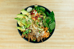 Food Photography - Buddha Bowl (Katherine Ridgley) Tags: food healthy vegetables spinach sesame carrot broccoli tofu onion onions greenonions wood presentation board buddhabowl vegetarian vegan vegetarianfood veganfood lunch meal kitchen cook cooking avocado