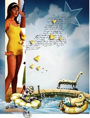 Colleen Corby in yellow swimsuit (jmbder) Tags: colleencorby collage 60smodel 60sfashion hearts stars pool